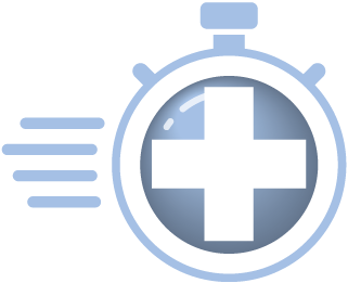 ImmediateCare Services medical symbol on stopwatch icon